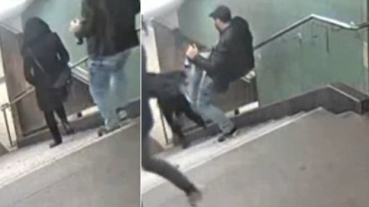 Policie slibuje: Kdo zveřejnil video s imigranty skopávajícími ženu ze schodů, bude stíhán!