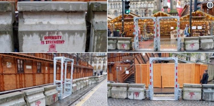 Vstup na vánoční trhy v Manchesteru vypadá jako vstup do pevnosti