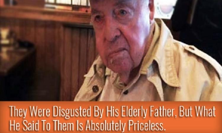 Syn se oddaně stará o svého starého otce, který byl v restauraci lidmi souzen. Poté udělal něco úžasného a dal lekci všem okolo