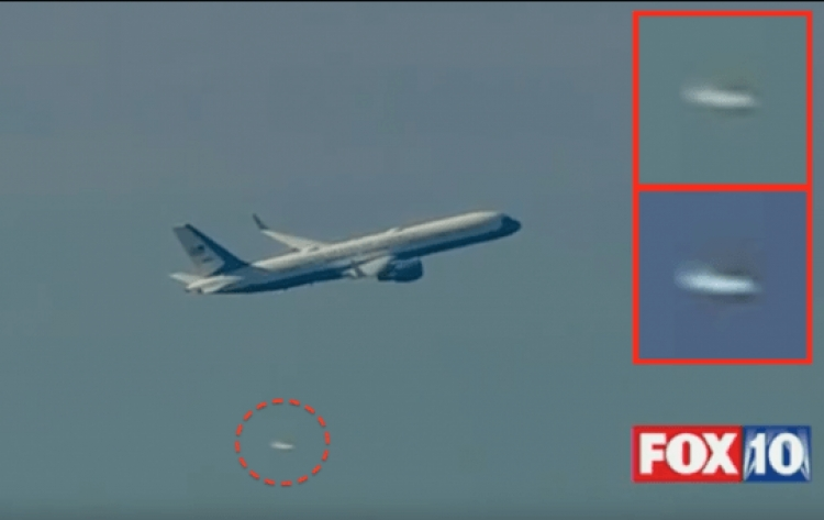 Během odletu Donalda Trumpa na inauguraci bylo spatřeno UFO