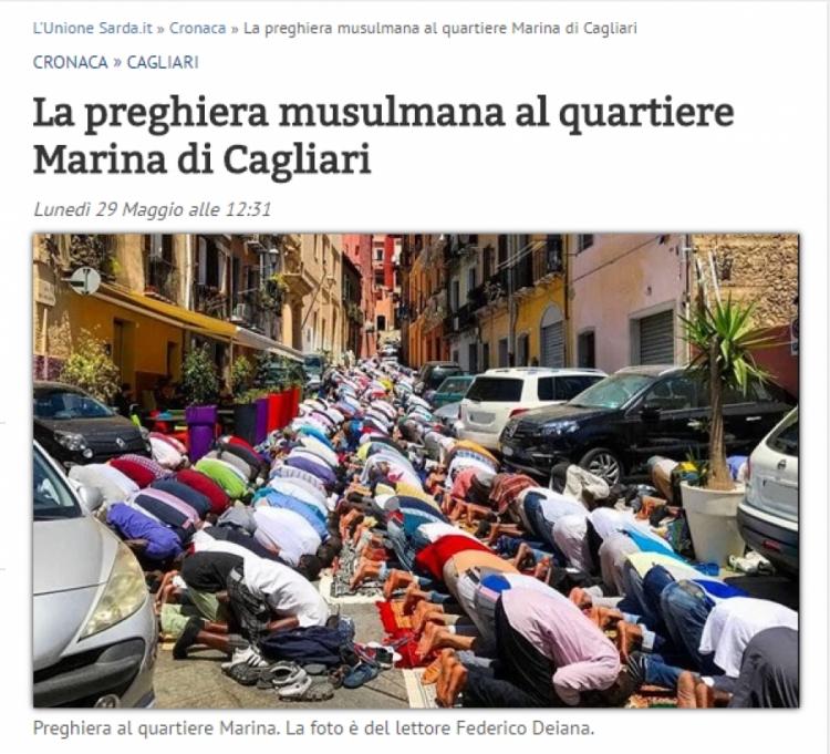 Invaze stovek muslimů v ulicích v Cagliari...