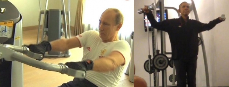 Obamu nahráli na video, když cvičí. Předváděl neskutečné kousky a moderátor to porovnal s Putinem...