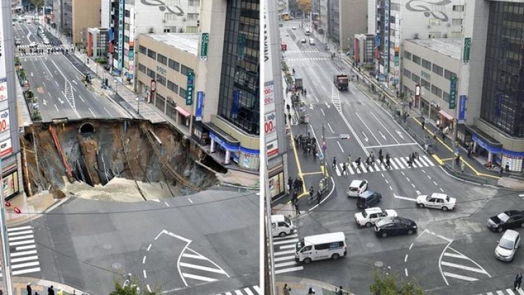 Japonská síla dělníků. Obří kráter v silnici zmizel za pouhé dva dny