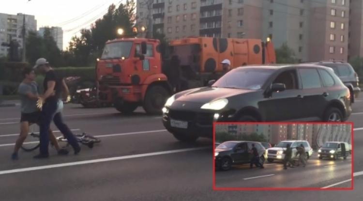 Lidé z Porsche v Rusku dělali ramena na cyklistu, pak ale naštvali podstatně vyšší šajbu