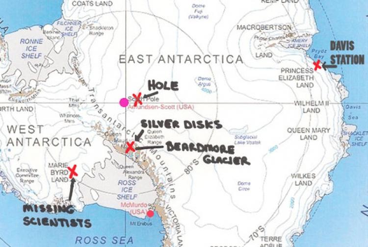 Bývalý inženýr US Navy potvrzuje a ukazuje na mapě: Na Jižním pólu se nachází základna mimozemské civilizace