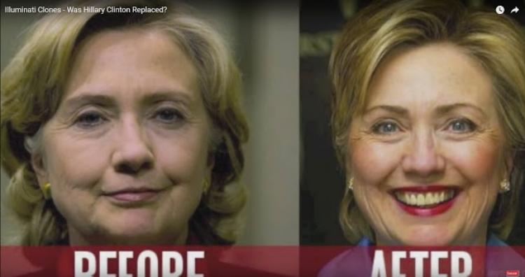 Hillary Clinton: vážně nemocná osoba, špatně fungující klon či dvojnice? Podívejte se na důkazy...