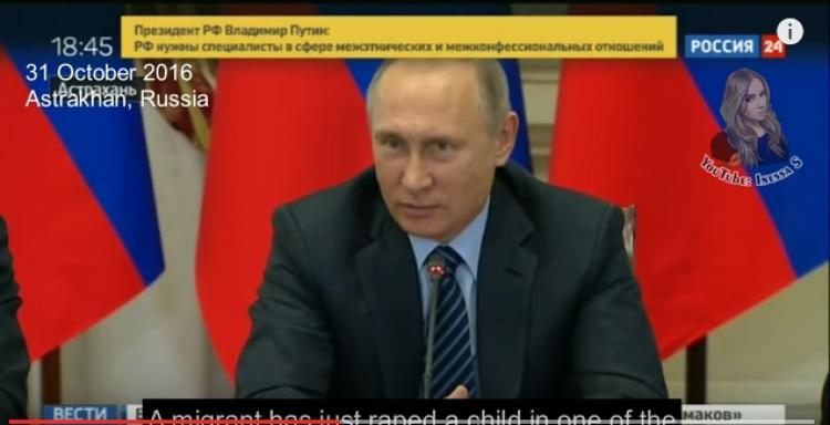 """Putin nechápavě kroutí hlavou a varuje, že evropské země """"nemají budoucnost"""" pokud budou přijímat tolik migrantů"""